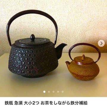 鉄瓶 急須 大小2つ お茶をしながら鉄分補給