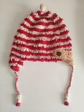 美品 Natural Boo 鳥刺繍 耳当て 帽子 女の子 赤ピンク L