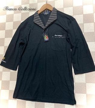 Franco Collezioni(L)二重変化衿七分袖ドレスポロシャツ/黒