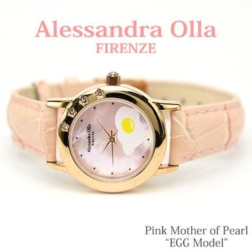 送料無料【Alessandra Olla】エッグ&ピンクシェル本革腕時計PK