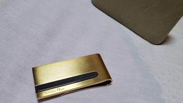正規未 ディオール エンブレムロゴ クラシックマネークリップ ゴールド×グレー系ライン 財布