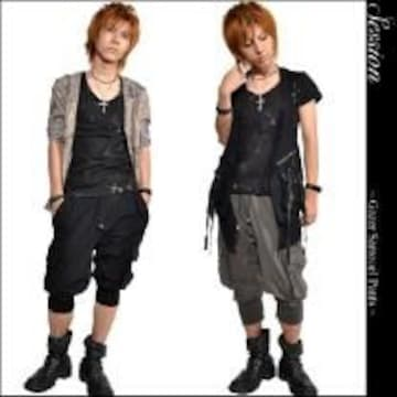 【SESSION】《New》ウェルム*サルエル(ショート)パンツ<ブラックxブラックL>