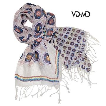 新品VD・MDエスニック風 刺繍プリント リネン100%ストール白