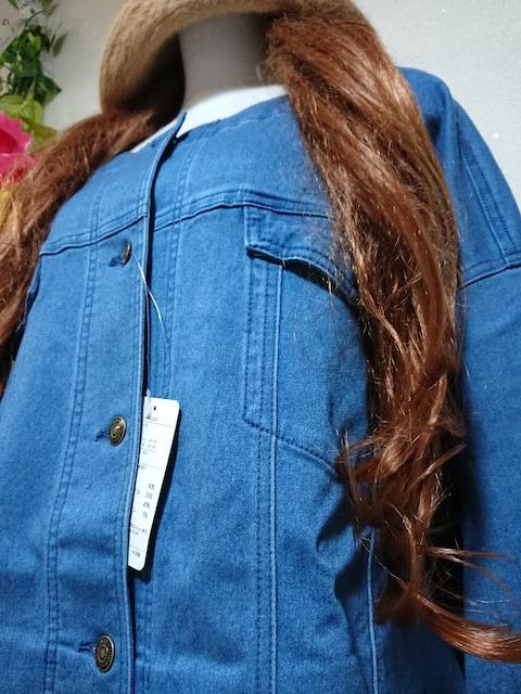 ★新品タグ8L★デニムジャケット¥7689★ストレッチ < 女性ファッションの