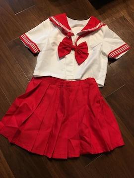 コスプレ赤色セーラー・半袖セーラー服・制服衣装☆★赤