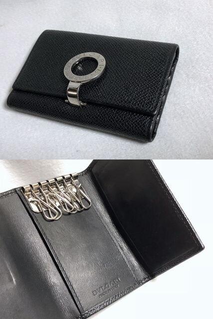 正規良 ブルガリBVLGARI B-zeroロゴクリップ 6連キーケース黒×シルバー ブルガー < ブランドの