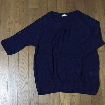 ネイビー ゆるりサマーニット 透け編み ラグラン 捲れる袖 M