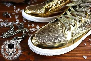 送料込 ラメ ハイカット スニーカー 靴 メンズ シューズ 厚底 オラオラ ダンス 107金26.5