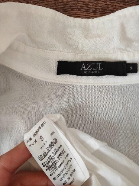 AZUL by moussy/スキッパー長袖綿シャツ/ロールアップ袖/白/S < ブランドの