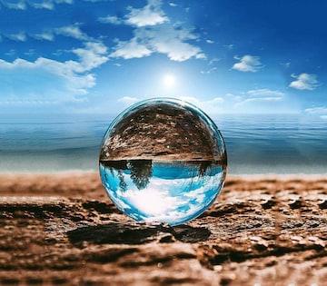 クリスタルボール 80mm 無色透明 水晶玉 ガラス玉
