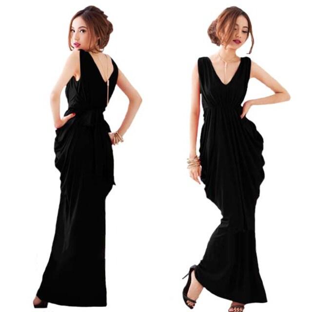 ZC676即決 新品 マキシ ワンピース 黒 ザラ スライ マウジー イング 好きに  < 女性ファッションの