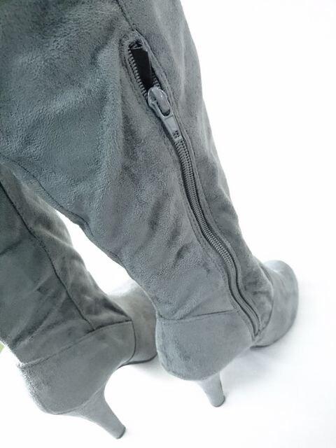 2912-38 新品未使用 暖か10.5�aヒール グレーニーハイブーツ < 女性ファッションの