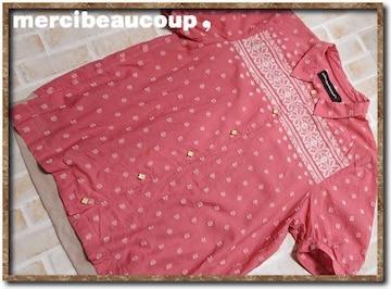メルシーボークー ジャガード半袖シャツ 薄赤