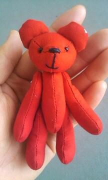 赤い手作りテディベア  手乗りサイズ オリジナルハンドメイド