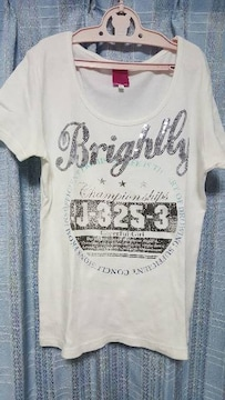 おしゃれなTシャツ★スパンコール英字★Mサイズ