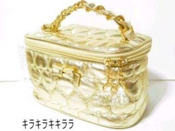 《New》リボン付★ハート*エナメルキルティング・バニティバッグ<ゴールド>