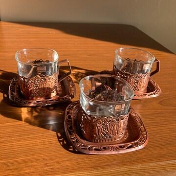 コーヒー&紅茶カップ&皿 エジプト古代貴族柄