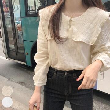 シャツ トップス 韓国ファッション セーラー襟 ブラウス