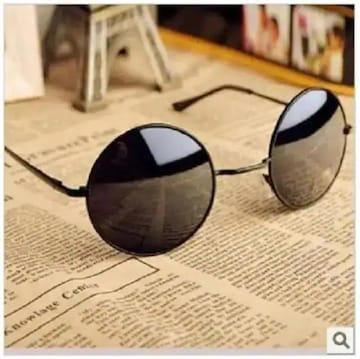 ネット最安値490円★マトリックス キアヌ 風サングラス 丸型 黒