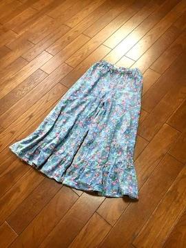 【美品】PARK GIRL◆デニム風◆洗練花柄ティァードガウチョ