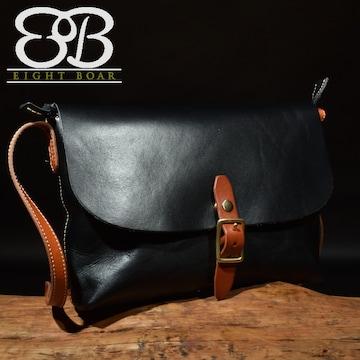 ◆牛本革 定番 フリップ式ショルダーバッグ ブラック◆黒b58