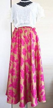 Tiara/ティアラ/オリジナル花柄プリントフレアロングスカート/ゴールド&ピンク/ウエストゴム入