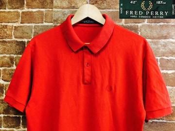 表記42/英国製!フレッドペリー 半袖 ポロシャツ UK 古着 モッズ 赤 ロック