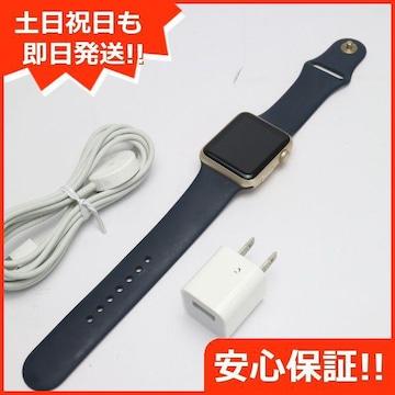 安心保証●美品●Apple Watch 42mm ゴールド ミッドナイトブルー