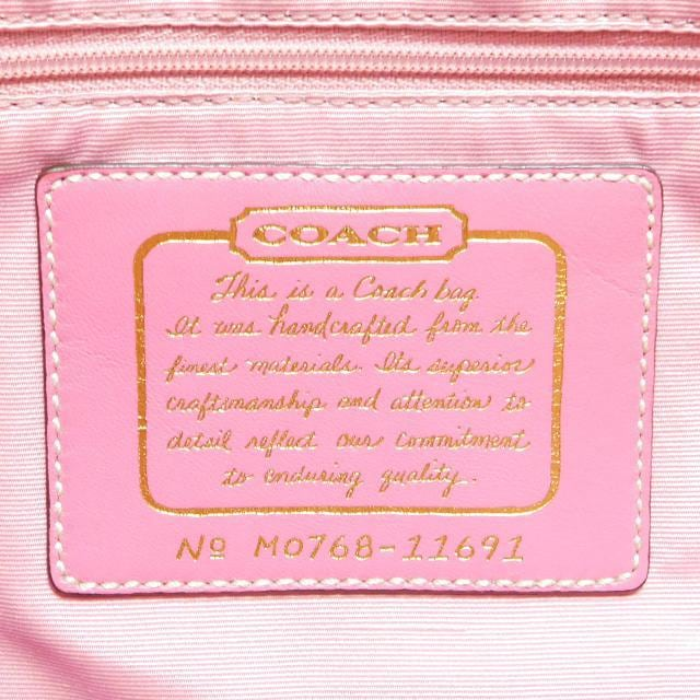 COACHコーチ トートバッグ シグネチャー 茶ピンク11691正規品 < ブランドの