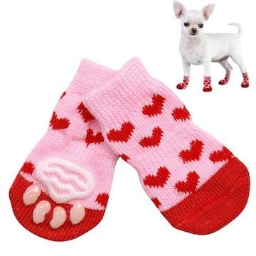 犬 靴下 室内 滑り防止 アレルギー 老犬 舐め防止 Sサイズ ピン