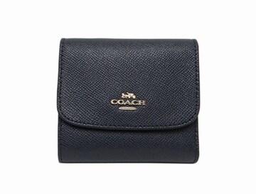 COACH コーチ F87588 レザー 三つ折り財布 ブラック【送料無料】
