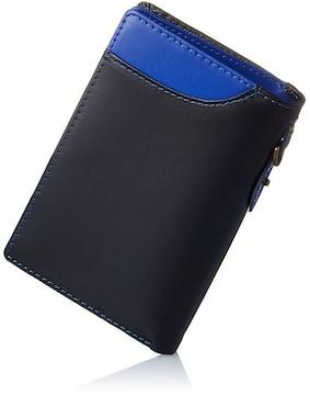 財布 二つ折り L字型ファスナー 小銭入れ ブルー