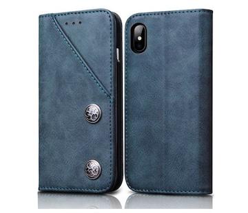 iphone x 手帳型ケース 全面保護 ブルー