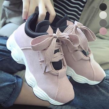 スニーカー 厚底 靴 韓国風  ローカット レースアップ 美脚
