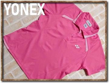 ヨネックス 刺繍入り半袖ポロシャツ ピンク
