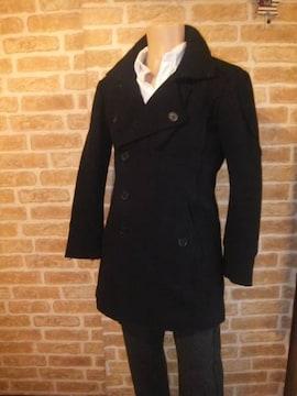 H&M 好デザイン加工ウールPコート黒M 国内正規品