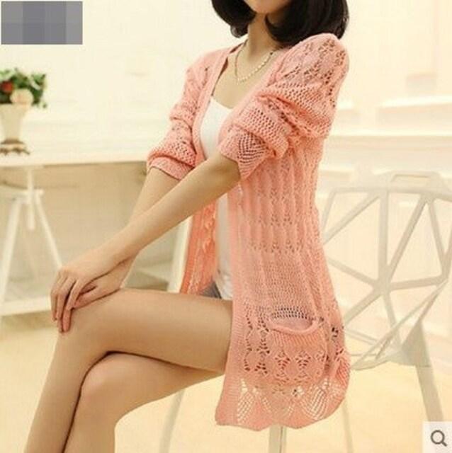 上品★カギ編みニット★ロングカーディガン(S・薄ピンク) < 女性ファッションの