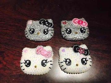 非売品デコパーツ キティ パールピンク リボン 2(右上)