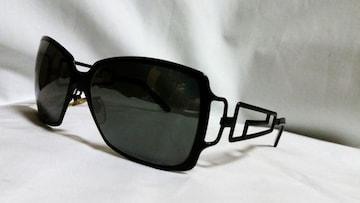 正規美 VERSACEヴェルサーチ グレカGエンブレムメタルフレームサングラス黒 マッドブラック