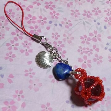 【handmade】ちゅら玉風☆ビー玉☆ストラップ☆赤