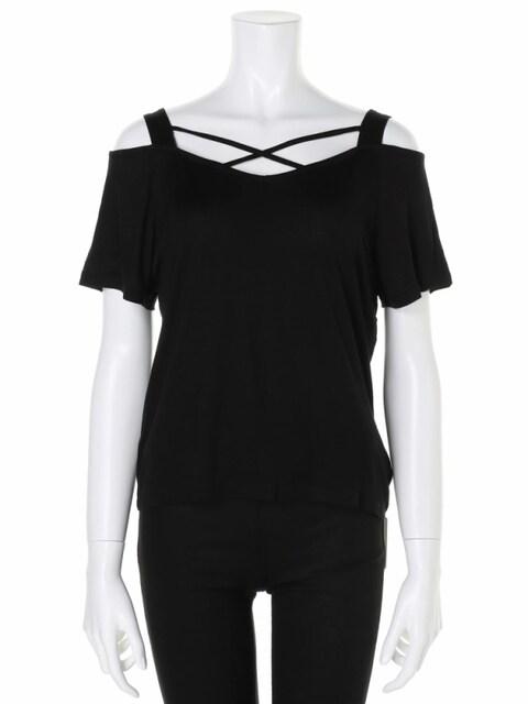 SPIRALGIRL黒クロスオープンショルダートップススパイラルガールオフショルTシャツカットソー  < ブランドの