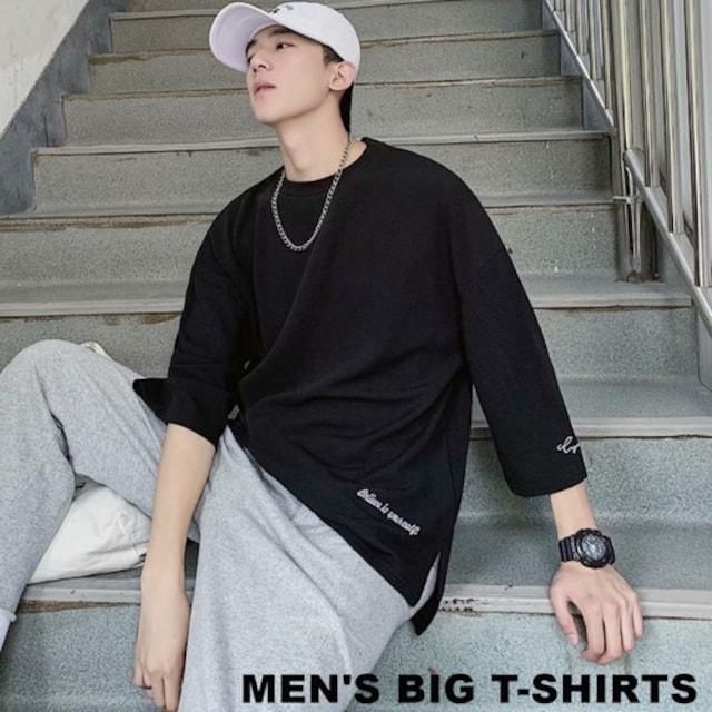 ブラック / XLサイズ メンズ 黒 ビッグシルエット Tシャツ  < 男性ファッションの