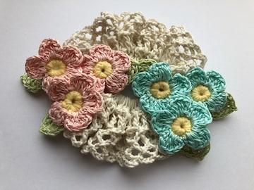 ハンドメイド シュシュ レース糸で編んだパステルお花いっぱい