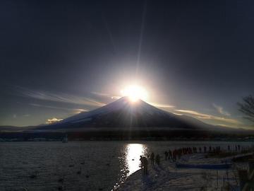 世界遺産 富士山 ダイヤモンド富士 写真 A4又は2L版 額付き