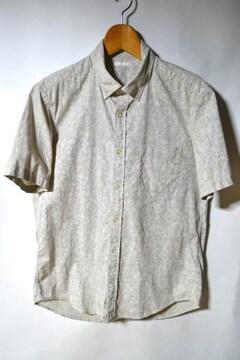 GU ジーユー リネンブレンドシャツ 花柄 半袖 ベージュ M メンズ