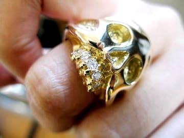 仁尾彫金『フルダイヤゴールドスカル』ハンドメイド
