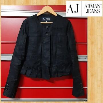 ARMANI JEANS アルマーニジーンズ ノーカラーリネンジャケット ジャパン正規品 美品