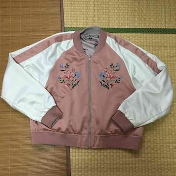 3Lサイズ・花刺繍リバーシブルスカジャン&ブルゾン。ピンク