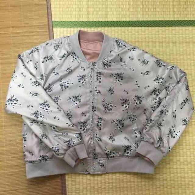 3Lサイズ・花刺繍リバーシブルスカジャン&ブルゾン。ピンク < 女性ファッションの