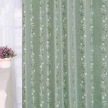 Baibu Home カーテン 花柄 グリーン 幅100cm×丈178cm 2枚組 2